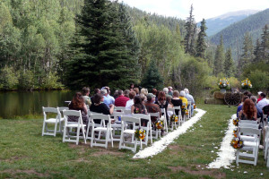 Wedding ceremony at Tumbling River Ranch.