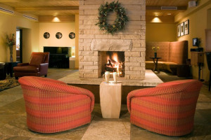 Lobby fireplace at Edelweiss Lodge.