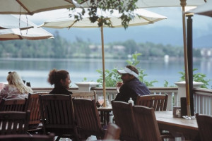 Deck dining at Mirror Lake Inn Resort & Spa.