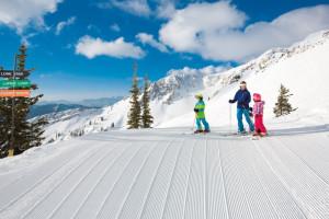 Family skiing at Alta Chalets.