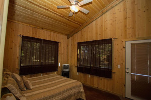 Queen bed and private 1/2 bath.