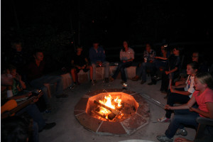 Campfire at Tumbling River Ranch.