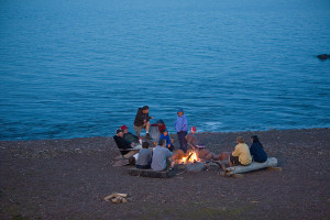 Beach bonfire at Lutsen Resort on Lake Superior.