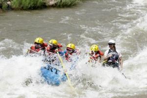 River rafting near Bristlecone Lodge.