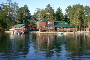 View from the lake at Isle O' Dreams Lodge.