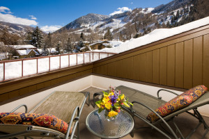 Balcony view at Aspen Mountain Lodge.