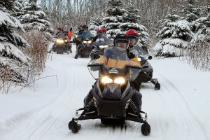 Snowmobiling at Train Bell Resort.
