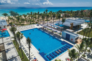 Outdoor pools at Hotel Riu Playacar.