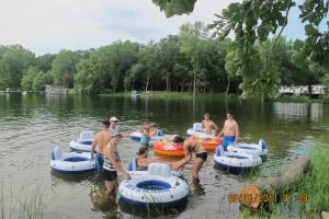 Water tubing at Whispering Waters Resort.
