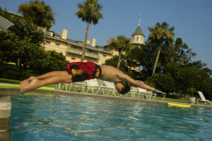Diving in pool at Jekyll Island Club Hotel.