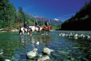 Riding horses at Clayoquot Wilderness Resort.