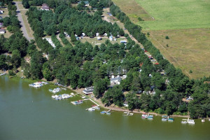 Aerial view of Six Lakes Resort.