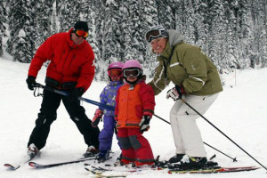 Family skiing at Douglas Fir Resort & Chalets.