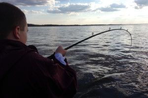 Reeling in the big catch at River Bend Resort.