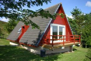 Cottage exterior at Highland Glen Lodges.