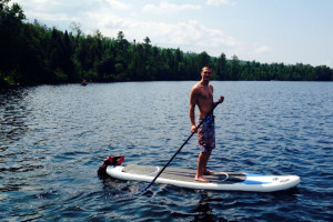 Paddle boarding at Gunflint Lodge.