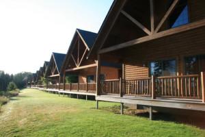 Cabin exterior at Drummond Island Resort.