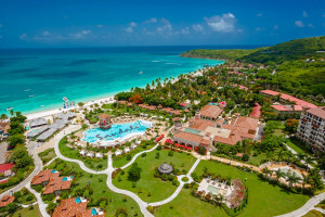 Aerial view of Sandals Antigua Resort and Spa.