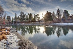 Vacation rental waterfront at Vacasa Rentals Sunriver.