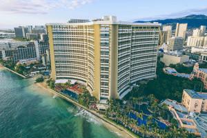 Exterior view of Sheraton Waikiki Hotel.