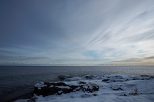 Winter time at Temperance Landing on Lake Superior.