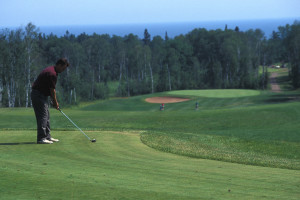 Golfing at Chateau LeVeaux near Superior Shores Resort.