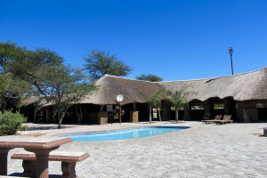 Exterior view of Elephant Sands Safari Lodge.