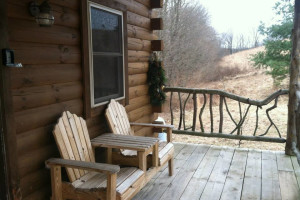 Cabin porch at Big Pine Retreat.