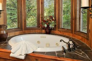 Cabin hot tub at Dollywood Cabins.