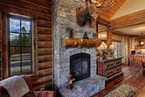 Cabin fireplace at Teton Springs Lodge.