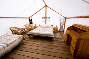 Guest tent at REO Rafting Resort.