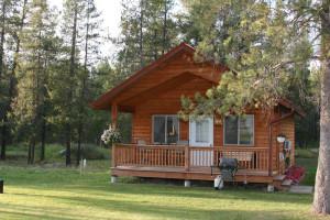 Cabin exterior at Glaciers' Mountain Resort.