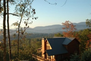 Cabin Overlooking Mountains at JP Ridgeland Cabin Rentals