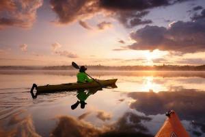 Kayak on lake at Cherry Beach Resort.