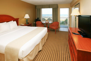 Guest room at Holiday Isle Oceanfront Resort.