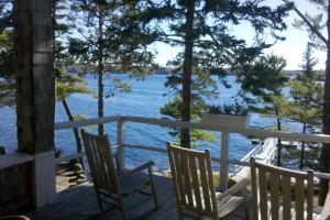 Deck ocean view at Linekin Bay Resort.