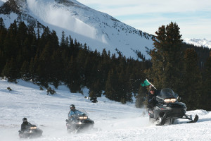 Snowmobiling at Beaver Run Resort.