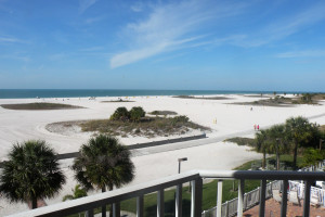 Balcony view of beach at Sunsational Beach Rentals. LLC.