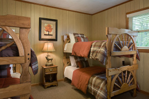 Cabin bedroom at Caryonah Hunting Lodge.