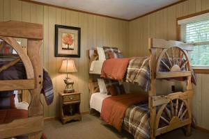 Cabin bedroom at Caryonah Hunting Lodge.