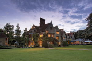 Exterior view of Le Manoir aux Quat' Saisons.