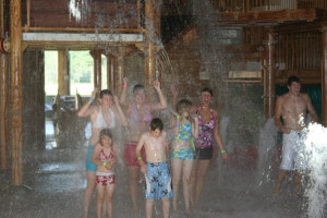 Family at the water park at Holiday Inn Express Brainerd.