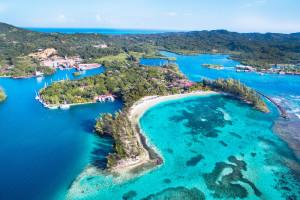 Aerial view of Fantasy Island Beach Resort.