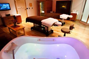 The spa at Hope Lake Lodge & Indoor Waterpark.