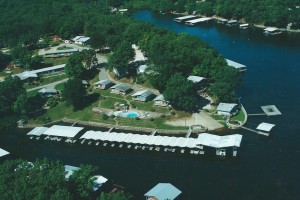 Aerial view of Rock Harbor Resort.