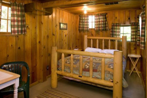 Cabin interior at East Lake Resort.