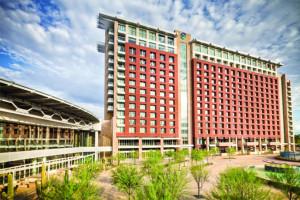 Talking Stick Resort behind the blue sky of Scottsdale, AZ