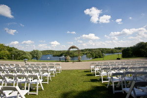 Wedding ceremony at Holiday Inn Club Vacations at Lake Geneva Resort.