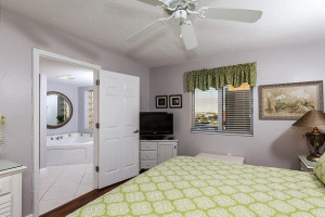 Guest bedroom at Brooks and Shorey Resorts, Inc.