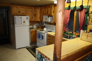 Cabin kitchen at Gingerbread Cabin.